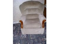 Two strong Dralon and wood reclining chairs