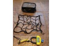 Motorbike disk lock, tank bag and net