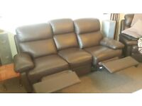 Brown highback 3 Seater Leather Recliner Sofa