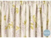 Laura Ashley Ready Made Heavenly Flowers Pencil Pleat Curtains, NEW