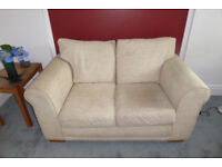 Next Salerno pale fawn and cream 2 seater sofa