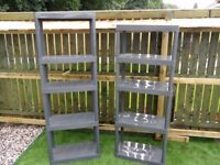 Grey Plastic Shelving could be used as staging in the greenhouse or shed