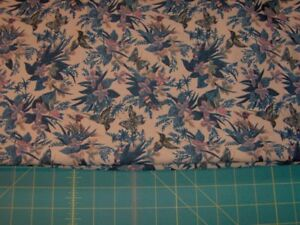 3 yds of blue birds on pale brown background sewing fabric