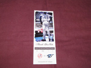 Souvenir 'ticket' from 2010 Blue Jays/Yankees game-Cito farewell