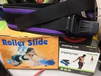 Gym belt , skipping rope , roller slide