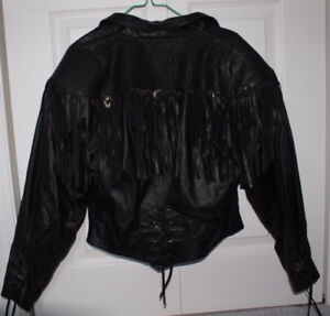 BERMANS Black 100% LEATHER Fringe Jacket, Ladies SMALL