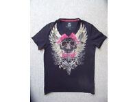 Next man's 100% cotton V-neck, short sleeve black/rhinestone-effect skull t-shirt.Size small.£4 ovno