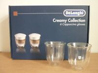 Delongi Creamy Collection Cappuccino Glasses. Qty 6, New.