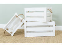 Rustic White Wooden Crate Set of 3 - 1x Small, 1x Medium & 1x Large