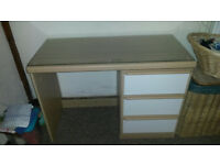 Small glass topped dressing table