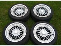 "Dare RS (BBS reps) 4x100/4x108 17"" Alloy Wheels Nearly New Kumho Tyres Mini Vauxhall Honda Ford Ect"