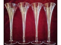 Set of 4 Tall Flutes or Small Vases. Glassware Engraved Grape Filigree Design. Wedding / Collectors
