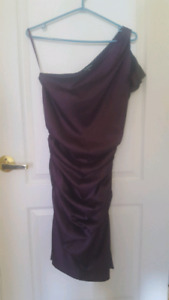 Purple one shoulder semi formal dress