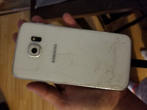 SAMSUNG S6 EDGE CRACKED SCREEN AND BACK BUT STILL WORKS GREAT!