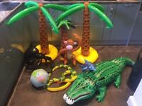 Inflatable Jungle - Crocodile Monkey Spider Palm Tree Party