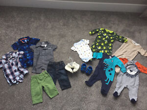 Baby boy rompers, pants, shoes, sleepers 0-6 mon