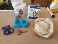 Puppy dog bundle pack kit xs harness brush bed food bowl pads bargain!!!!