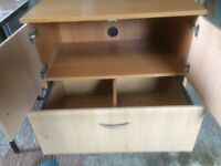 Wooden storage cupboard and hanging file draw