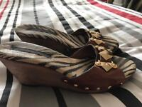 Ladies River Island leopard print wedges