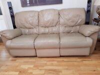 3 + 2 leather beige sofa recliner