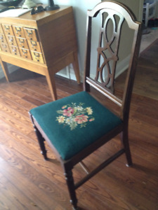 Antique needlepoint dining chairs