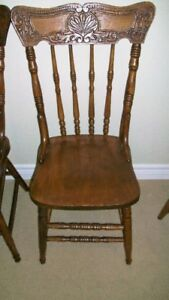 Four Press Back Chairs