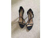 Black leather, satrapy shoes, stiletto heels size 7/40