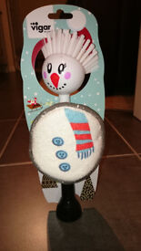 FREE Novelty Mr Snowman washing up brush and scrubbing pad - unused Christmas gift