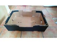 27 strong cardboard fruit boxes (stackable). Approx 60cm (L) × 40cm (W) × 16cm (D).