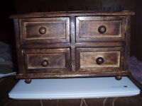 small wooden chest of drawers/jewellery chest drawers 11inx6inx7in (reduced)
