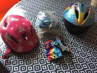 Kids Bicycle and Scooter Helmets, knee pads, gloves