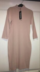 Boohoo Size 12 Pink High Neck 3/4 Sleeve Midi Dress