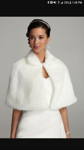 David's bridal ivory faux fur shawl