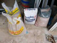 34 common bricks, 3 bags sand, 2 bags cement