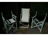 Traditional Deck Chair and 2 Director Chairs