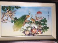 VINTAGE CHINESE SHADOW BOX 3D PICTURE . [ MOTHER OF PEARL - SITAL JADE - SHELL]