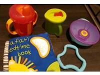 Baby cup/book/teether/bowl/toy- mostly unused