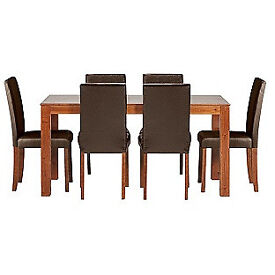 Newton Walnut Stain Dining Table 6 Chocolate Chairs