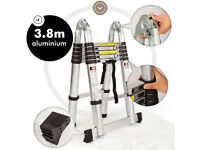 Aluminium Multi-Purpose Folding Telescopic Ladder A Frame Shape EN131 Brand New