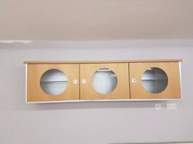 Oak cabinet, wall unit, good condition & quality, glass shelving, storage, feature, display