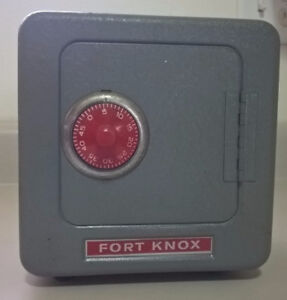 Vintage Fort Knox Metal Toy Safe Coin Bank with Combination