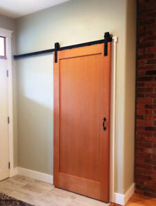 Soft close barn door hardware, and custom doors