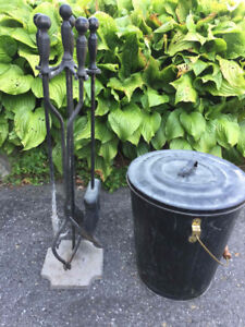 Fireplace implements and Ash Bucket