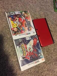Nintendo 3DS XL with games and charger