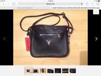 Brand New Prada Black Leather Cross Body Clutch Handbag
