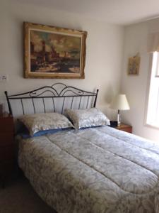 Headboard and Queen mattress frame