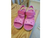 Girls Pink Sandle Crocs Size 2