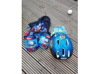Thomas the tank helmet and knee/elbow pads