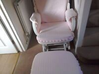 Nursery Rocker Glider Chair and Footstool