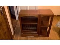 Cherry wood and wood veneer kitchen plate rack with display cupboard. Sold as seen.